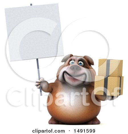 Clipart of a 3d Bill Bulldog Mascot Holding Boxes, on a White Background - Royalty Free Illustration by Julos