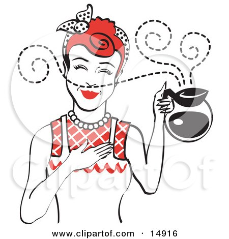 Red Haired Waitress Smelling The Wonderful Aroma Of Fresh, Hot Coffee While Holding A Coffee Pot Clipart Illustration by Andy Nortnik