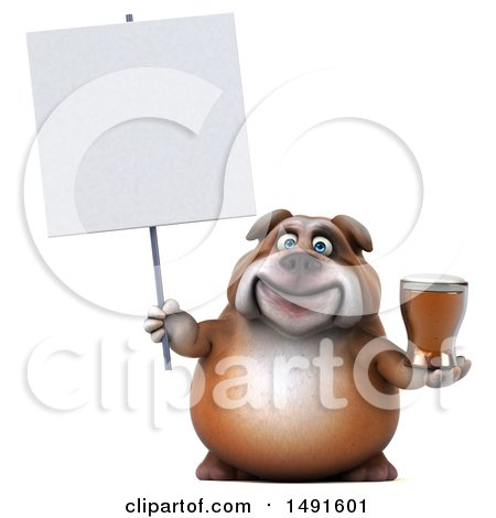 Clipart of a 3d Bill Bulldog Holding a Beer, on a White Background - Royalty Free Illustration by Julos