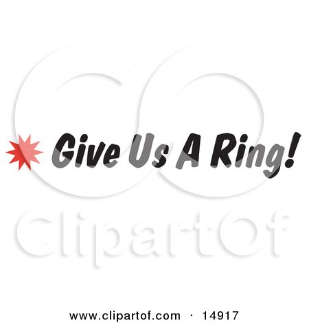 Give us a Ring Sign With a Star Burst Clipart Picture by Andy Nortnik