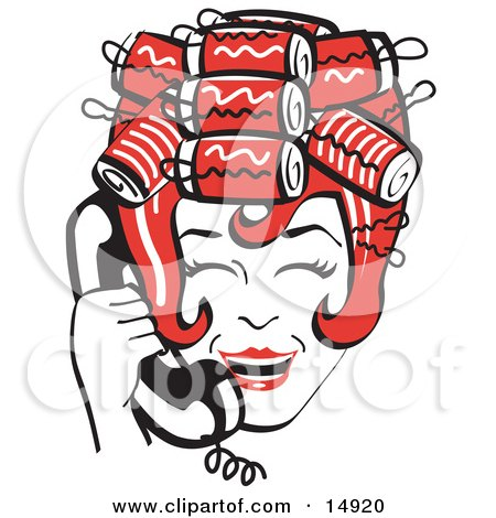 Red Haired Housewife With Her Hair Up In Curlers, Laughing While Talking On A Landline Telephone Clipart Illustration by Andy Nortnik