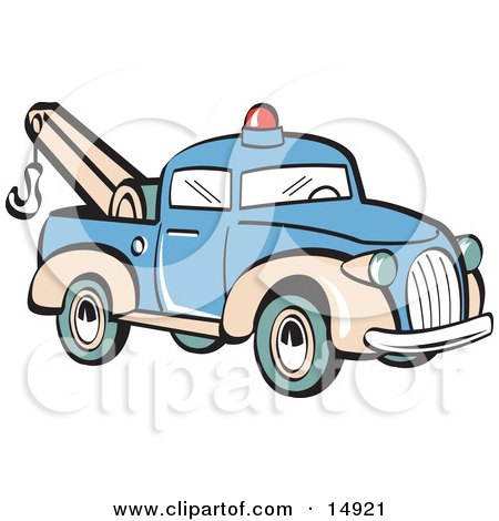 Blue Toy Tow Truck With A Hook Retro Clipart Illustration by Andy Nortnik