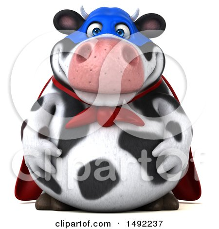 Clipart of a 3d Super Holstein Cow Character, on a White Background - Royalty Free Illustration by Julos