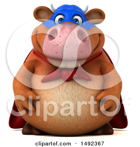 Clipart of a 3d Brown Super Cow Character, on a White Background - Royalty Free Illustration by Julos