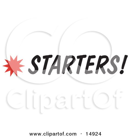 Starters Sign With a Star Burst Clipart Picture by Andy Nortnik