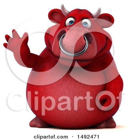 Clipart of a 3d Red Bull Waving, on a White Background - Royalty Free Illustration by Julos