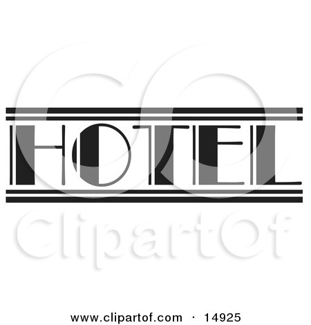 Black And White Hotel Sign Clipart Illustration