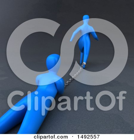 Clipart of a 3d Blue Man Chained to Another Person - Royalty Free Illustration by Julos