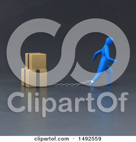Clipart of a 3d Blue Man Chained to Boxes - Royalty Free Illustration by Julos