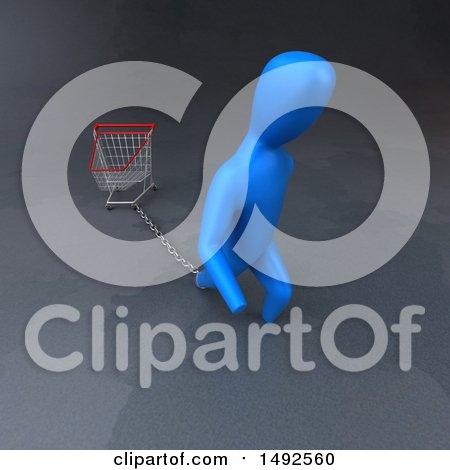 Clipart of a 3d Blue Man Chained to a Shopping Cart - Royalty Free Illustration by Julos
