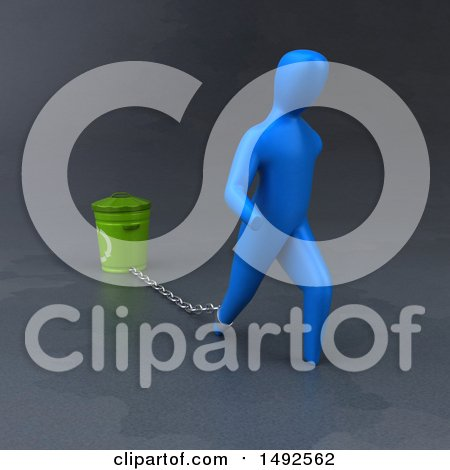 Clipart of a 3d Blue Man Chained to a Recycle Bin - Royalty Free Illustration by Julos