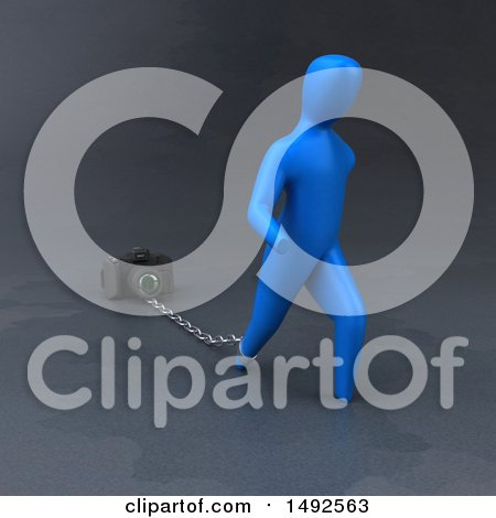 Clipart of a 3d Blue Man Chained to a Camera - Royalty Free Illustration by Julos