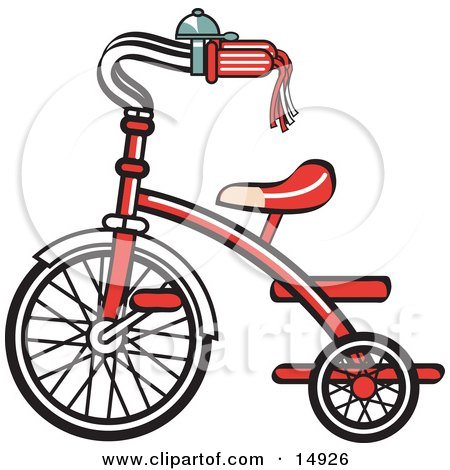 New Trike Bike With A Bell On The Handlebars Retro Clipart Illustration by Andy Nortnik