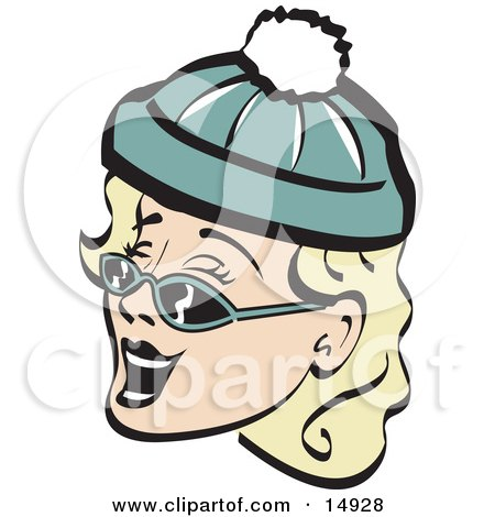 Jolly Blond Woman Wearing A Snow Cap And Sunglasses, Singing Christmas Carols Retro Clipart Illustration by Andy Nortnik