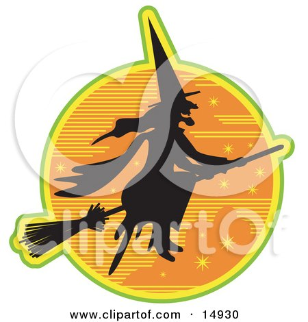 Ugly Witch In The Traditional Black Dress And Pointy Hat, Riding On A Broomstick And Silhouetted Against An Orange Starry Night Sky Clipart Illustration by Andy Nortnik
