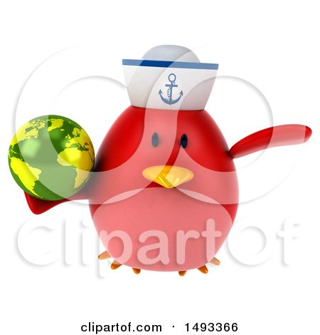 Clipart of a 3d Chubby Red Bird Sailor, on a White Background - Royalty Free Vector Illustration by Julos