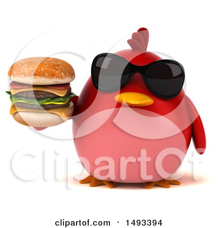Clipart of a 3d Red Bird Holding a Burger, on a White Background - Royalty Free Illustration by Julos