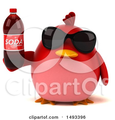 Clipart of a 3d Red Bird Holding a Soda, on a White Background - Royalty Free Illustration by Julos