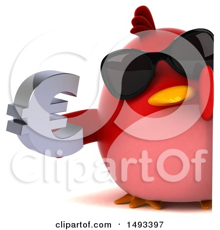Clipart of a 3d Red Bird Holding a Euro Symbol, on a White Background - Royalty Free Illustration by Julos