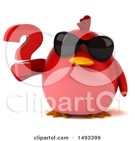 Clipart of a 3d Red Bird Holding a Question Mark, on a White Background - Royalty Free Illustration by Julos