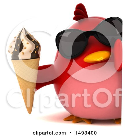 Clipart of a 3d Red Bird Holding an Ice Cream Cone, on a White Background - Royalty Free Illustration by Julos
