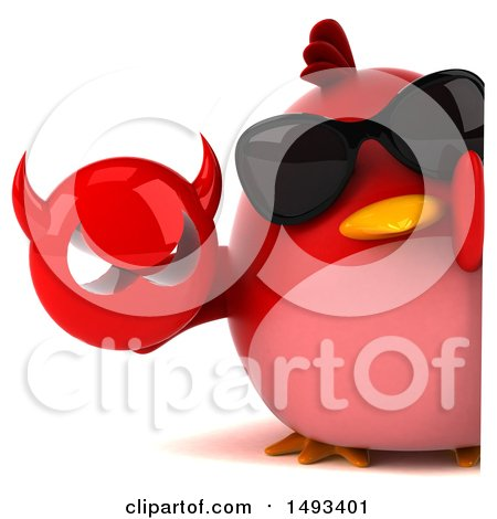 Clipart of a 3d Red Bird Holding a Devil Head, on a White Background - Royalty Free Illustration by Julos