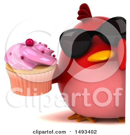 Clipart of a 3d Red Bird Holding a Cupcake, on a White Background - Royalty Free Illustration by Julos