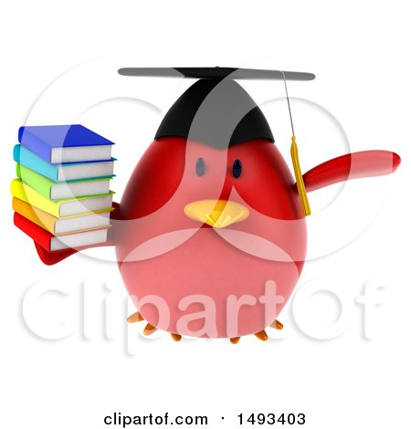 Clipart of a 3d Red Bird Graduate Holding Books, on a White Background - Royalty Free Illustration by Julos