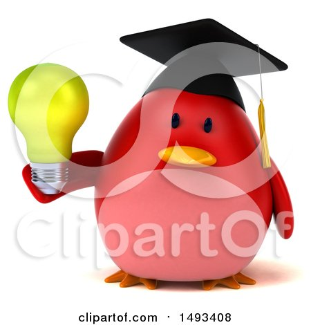Clipart of a 3d Red Bird Graduate Holding a Light Bulb, on a White Background - Royalty Free Illustration by Julos