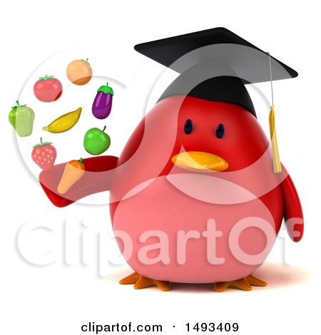 Clipart of a 3d Red Bird Graduate Holding Produce, on a White Background - Royalty Free Illustration by Julos