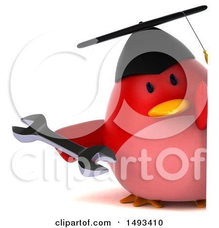 Clipart of a 3d Red Bird Graduate Holding a Wrench, on a White Background - Royalty Free Illustration by Julos