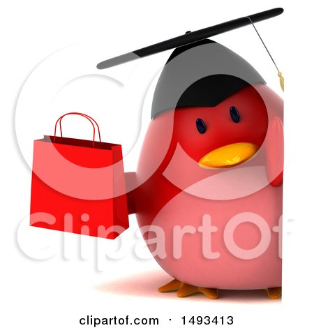 Clipart of a 3d Red Bird Graduate Holding a Shopping Bag, on a White Background - Royalty Free Illustration by Julos