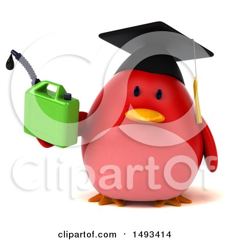 Clipart of a 3d Red Bird Graduate Holding a Gas Can, on a White Background - Royalty Free Illustration by Julos