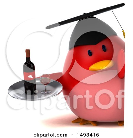 Clipart of a 3d Red Bird Graduate Holding a Wine Tray, on a White Background - Royalty Free Illustration by Julos