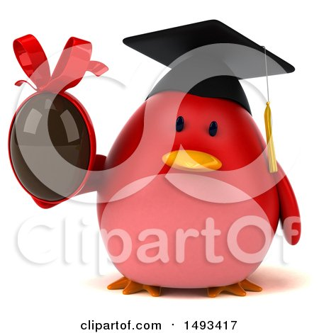 Clipart of a 3d Red Bird Graduate Holding a Chocolate Egg, on a White Background - Royalty Free Illustration by Julos