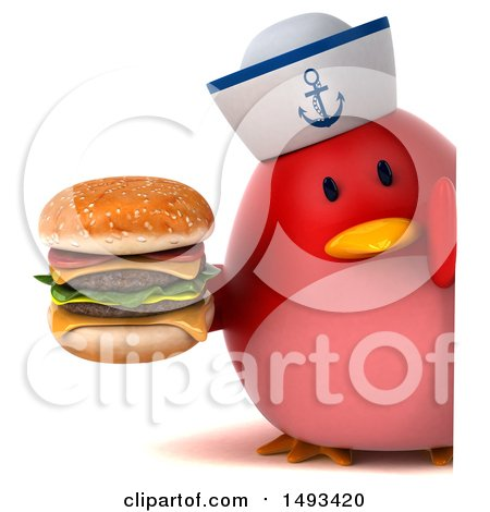 Clipart of a 3d Red Bird Sailor Holding a Burger, on a White Background - Royalty Free Illustration by Julos