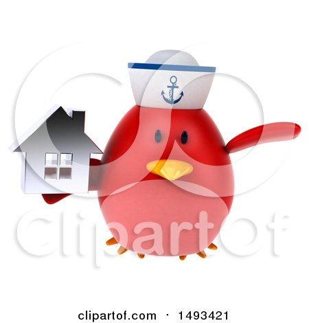 Clipart of a 3d Red Bird Sailor Holding a House, on a White Background - Royalty Free Illustration by Julos