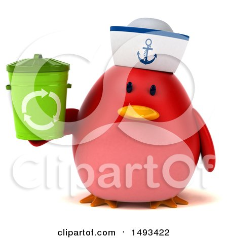 Clipart of a 3d Red Bird Sailor Holding a Recycle Bin, on a White Background - Royalty Free Illustration by Julos