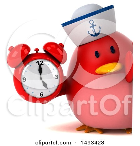 Clipart of a 3d Red Bird Sailor Holding an Alarm Clock, on a White Background - Royalty Free Illustration by Julos