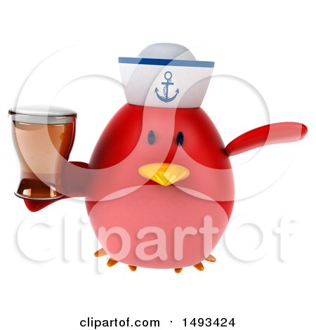 Clipart of a 3d Red Bird Sailor Holding a Beer, on a White Background - Royalty Free Illustration by Julos