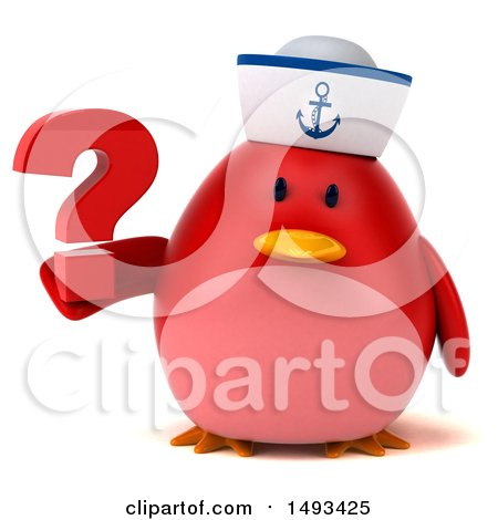 Clipart of a 3d Red Bird Sailor Holding a Question Mark, on a White Background - Royalty Free Illustration by Julos