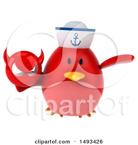 Clipart of a 3d Red Bird Sailor Holding a Devil Head, on a White Background - Royalty Free Illustration by Julos