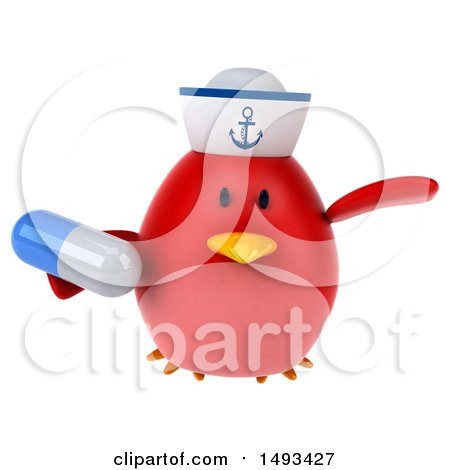 Clipart of a 3d Red Bird Sailor Holding a Pill, on a White Background - Royalty Free Illustration by Julos