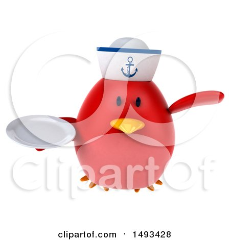 Clipart of a 3d Red Bird Sailor Holding a Plate, on a White Background - Royalty Free Illustration by Julos