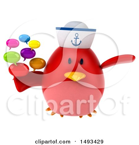 Clipart of a 3d Red Bird Sailor Holding Speech Bubbles, on a White Background - Royalty Free Illustration by Julos