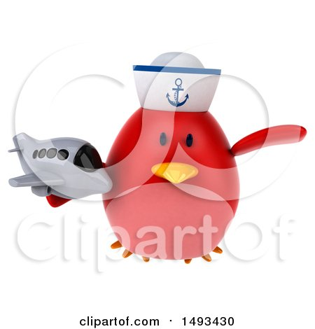 Clipart of a 3d Red Bird Sailor Holding a Plane, on a White Background - Royalty Free Illustration by Julos