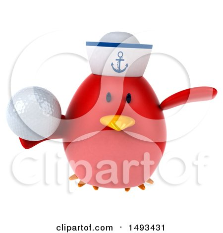 Clipart of a 3d Red Bird Sailor Holding a Golf Ball, on a White Background - Royalty Free Illustration by Julos