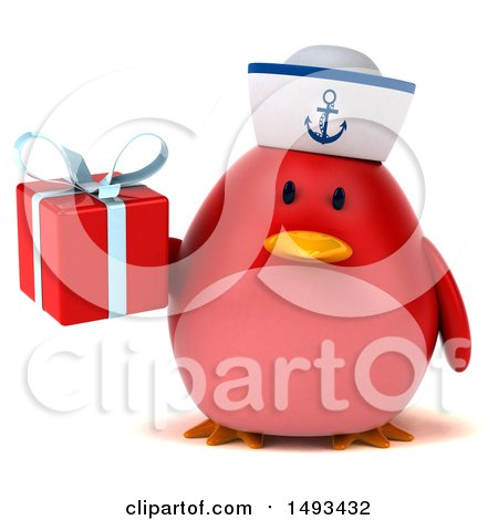 Clipart of a 3d Red Bird Sailor Holding a Gift, on a White Background - Royalty Free Illustration by Julos