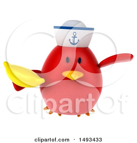 Clipart of a 3d Red Bird Sailor Holding a Banana, on a White Background - Royalty Free Illustration by Julos