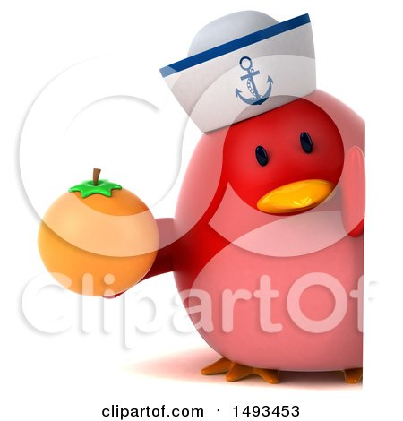 Clipart of a 3d Chubby Red Bird Sailor Holding an Orange, on a White Background - Royalty Free Illustration by Julos